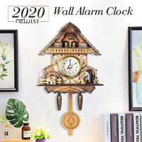 4 Type Vintage Cuckoo Wooden Battery Art Wall Hanging Silent Swing Clock
