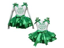 Happy St.Patrick's Day White Top Green Satin Trim Skirt Girls Outfit Set NB-8Y