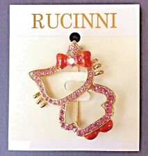 New Rucinni Hello Kitty Pin Cat Ruby Bow Shoes Swarovski Crystal Jewelry NIP