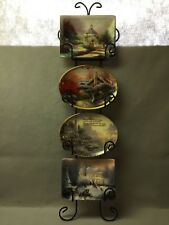 Thomas Kinkade 4 Collectors Plates w/Coa's and Iron Vertical Wall Rack