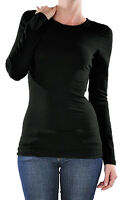 Womens Crew Neck Long Sleeve Basic Solid Plain Shirt Tee T Top Stretch GT-3020
