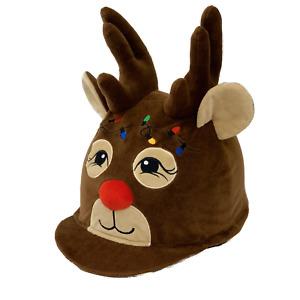 Rudolph Reindeer Christmas Riding Hat Silk Cover / Bike Helmet Cover *NEW*