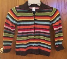 GYMBOREE  MULTI COLOR STRIPED FULL ZIP FRONT CARDIGAN SWEATER YOUTH SIZE 5