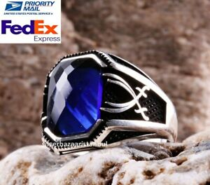 Turkish jewelry 925 Sterling Silver SWORD blue sapphire stone Mens ring ALL SİZE