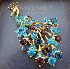 "New Old Stock Monet ""Crystal Peacock"" Pin / Brooch - Gold Tone"