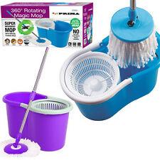 360° SPINNING ROTATING SPIN MOP FLOOR BUCKET KITCHEN 2 MICROFIBRE CLEANING HEADS