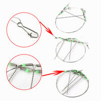 10x Noctilucent Fishing Line Leader Wire Trace With Snap Swivel Drop Arms Hook