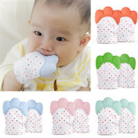 2Pcs Baby Teething Gloves Silicone Mitten Toys Infants Self-Soothing Teether