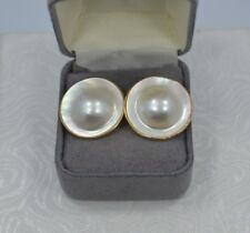 Exquisite Vintage 14K Yellow Gold 22mm MABE Pearl Stud Earrings  #M