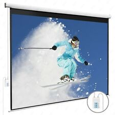 New listing 100'' 16:9 Electric Projection Screen Pull Down Projector Home Movie Matte White