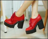 Women Gothic Punk Lace Up Lolita Platform Mary Jane Chunky High Block Heel Shoes