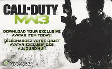 CALL OF DUTY MW3 EXCLUSIVE AVATAR ITEM Code Card Microsoft Xbox 360 Live