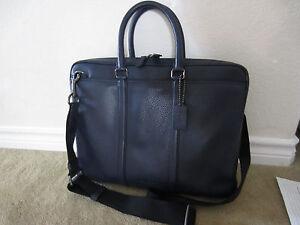 NWT Coach 71778 Men's Midnight Blue Pebble Leather Metro Brief Briefcase $495
