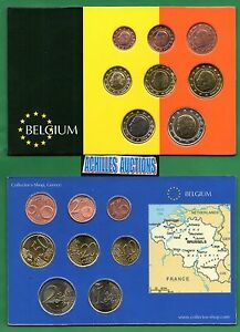 Euro Coins of Belgium 2000-2007 UNC Complete set of 8 values (1 cent to 2 euros)