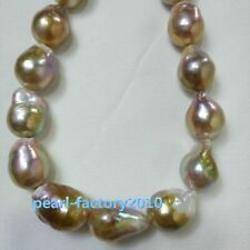 AAAA natural baroque  20X15mm japanese  kasumi pearl necklace 18 inch 14K