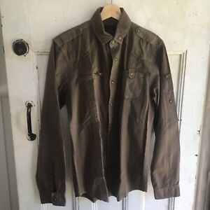 Zara Man Military Style Shirt Size M Mens Button Up Brown Casual Top