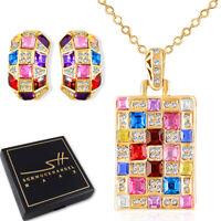 Schmuckset *Multicolor* Gold, Damen, Swarovski® Kristalle, mit Etui & Zertifikat