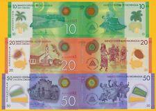 Nicaragua Set 10, 20, 50 Cordobas p-209, 210, 211 2014 UNC Polymer Banknotes