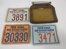 3 1947-55 Pennsylvania Non-Resident Hunting License w/Holder