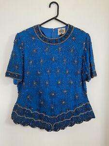 Vintage Eve Hunter Beaded Silk Top Size 16