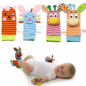 Infant Rattle Socks Baby Kids Wrist Strap Toys Foot Handbell Cute Cartoon Animal
