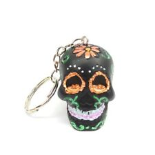 Black Sugar Skull Keychain Day of the Dead Hand Painted Orange Flowers