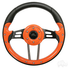 Golf Cart Aviator 4 Orange Grip/Black Spokes Steering Wheel