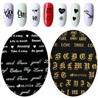 English Letter Nail Art Sticker 3D Transfer Decal Manicure Decor Adhesive Tips