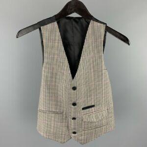 FIFTH AVENUE SHOE REPAIR Size S Grey Plaid Wool Buttoned Vest