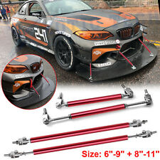 4pcs JDM Red Sport Racing Bumper Lip Splitter Strut Rod Tie Support Universal