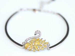 Swarovski Marquise Crystal (Citrine) Swan Design 14K White Gold Filled Bracelet