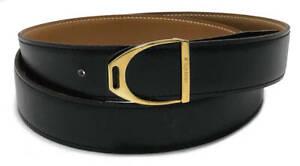 Authentic HERMES belt 39.37in kit belt black logo Gold Leather Men'