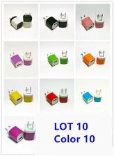 Lot10 Color 1A Usb Power Adapter Ac Home Wall Charger Us Plug for iPhone 5 6 7p