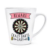 Beware Crazy Darts Lady 12oz Latte Mug Cup - Funny Sport Fathers Day Dad