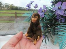 Vintage Antique Miniature Mohair JOINTED STEIFF JOCKO MONKEY Ear Button Toy Bear