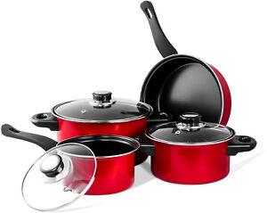 Nonstick Carbon Steel 7 pieces. Cookware Set Dutch Oven Fry Pan Sauce Pan Red