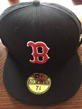 Boston Red Sox Hat. Fitted. Black w Red B. 7 5/8. Brand New. 59FIFTY