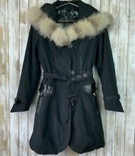 Yves Salomon Fox Fur Lined Black Parka 2 in 1 Belted Jacket Leather Coat S RARE