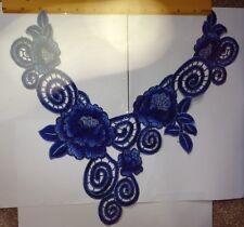 NUOVO Blu Floreale Colletto di merletto del collo, logo ricamato Applique collo trim * UK Venditore *
