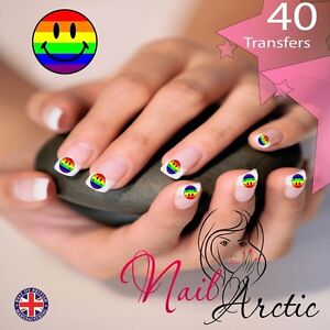 40 x Nail Art Water Transfers Stickers Wraps Decals Gay Pride gr1