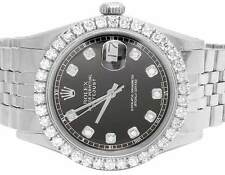 Mens Rolex Datejust 36MM Oyster Perpetual Black Dial Diamond Watch 3.9 Ct