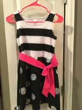 NWT Justice Black White Stripe Polka Dot Pink Dress Size 10 1/2 Silver Sequin