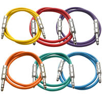 "SEISMIC AUDIO 6 PACK Colored 1/4"" TRS 3' Patch Cables"
