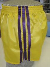 Retro Nylon Satin Football Shorts S - 4XL, Yellow - Purple