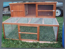 SYCAMORE LODGE LARGE RABBIT HUTCH DOUBLE RUN GUINEA PIG 2 TIER WOOD FLATPACKED