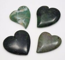 Set of 4 Heart Shape Gemstones Pendant Beads - Great Variety of Stones
