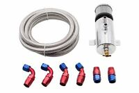 Aluminium Baffled Engine Oil Catch Can Twin Port AN10 + 3M Hose Fitting Kit PLS