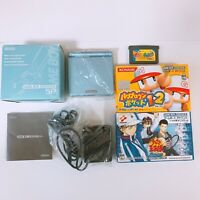 Nintendo Game Boy Advance SP Console System GBA Pearl Blue AGS-001 w/ 3 games VG