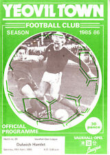 YEOVIL TOWN v DULWICH HAMLET19 APRIL 1986 VGC GERRY GOW & RITCHIE PLAY  NON LGE