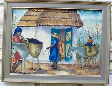 HAITI WATERCOLOR 1950'S FOLK SCENES SIGNED